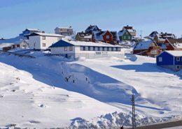 View of Hotel Nattoralik, where Restaurant Nanoq is located. Photo by Hotel Nattoralik