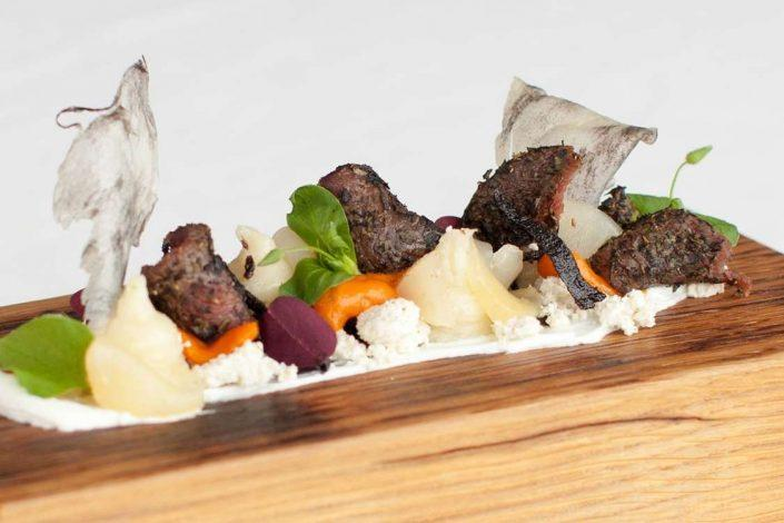 Greenlandic Gastronomy with whale at Restaurant Sarfalik in Nuuk, Greenland. Photo by Restaurant Sarfalik