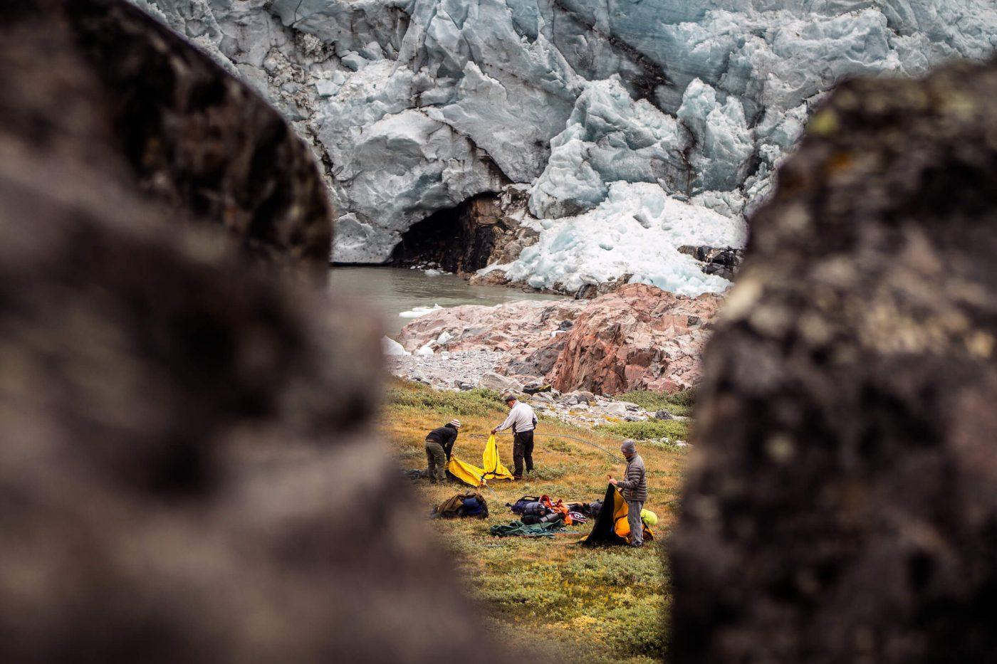 Setting up camp at Russell Glacier near Kangerlussuaq in Greenland. Photo by Mads Pihl