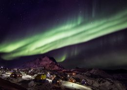 Northern lights over Sisimiut in Destination Arctic Circle in Greenland