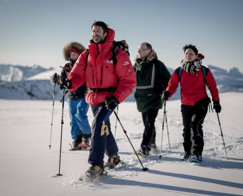Snowshoeing in the Sermermiut valley near the Ilulissat Icefjord in North Greenland's UNESCO World Heritage area
