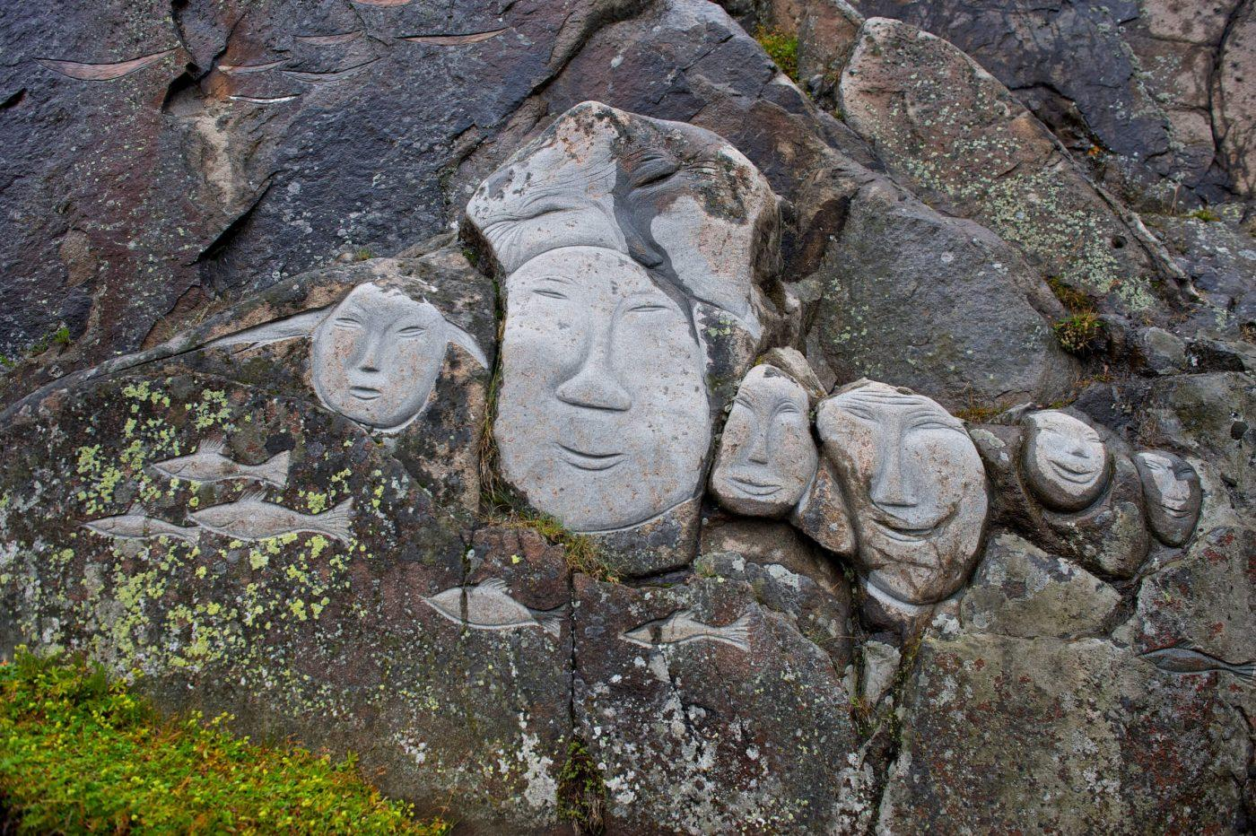 Stone & Man sculptures in Qaqortoq in South Greenland. Photo by David Buchmann - Visit Greenland