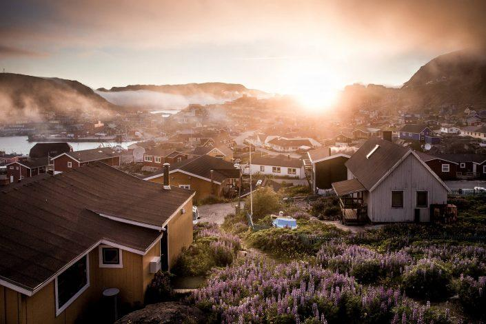 Sunset over Qaqortoq in South Greenland. Photo by Mads Pihl