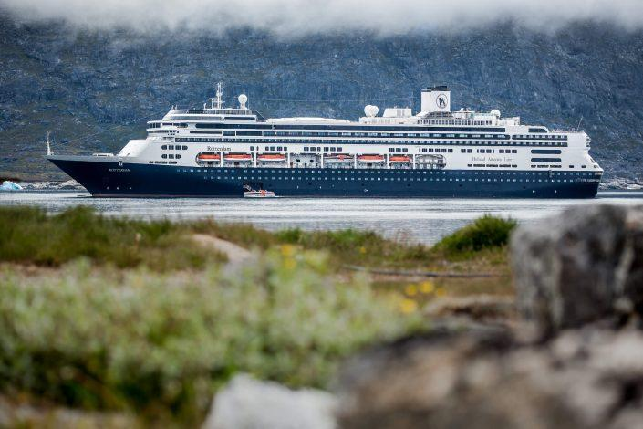 The cruise ship Rotterdam outside Nanortalik in South Greenland. Photo by Mads Pihl