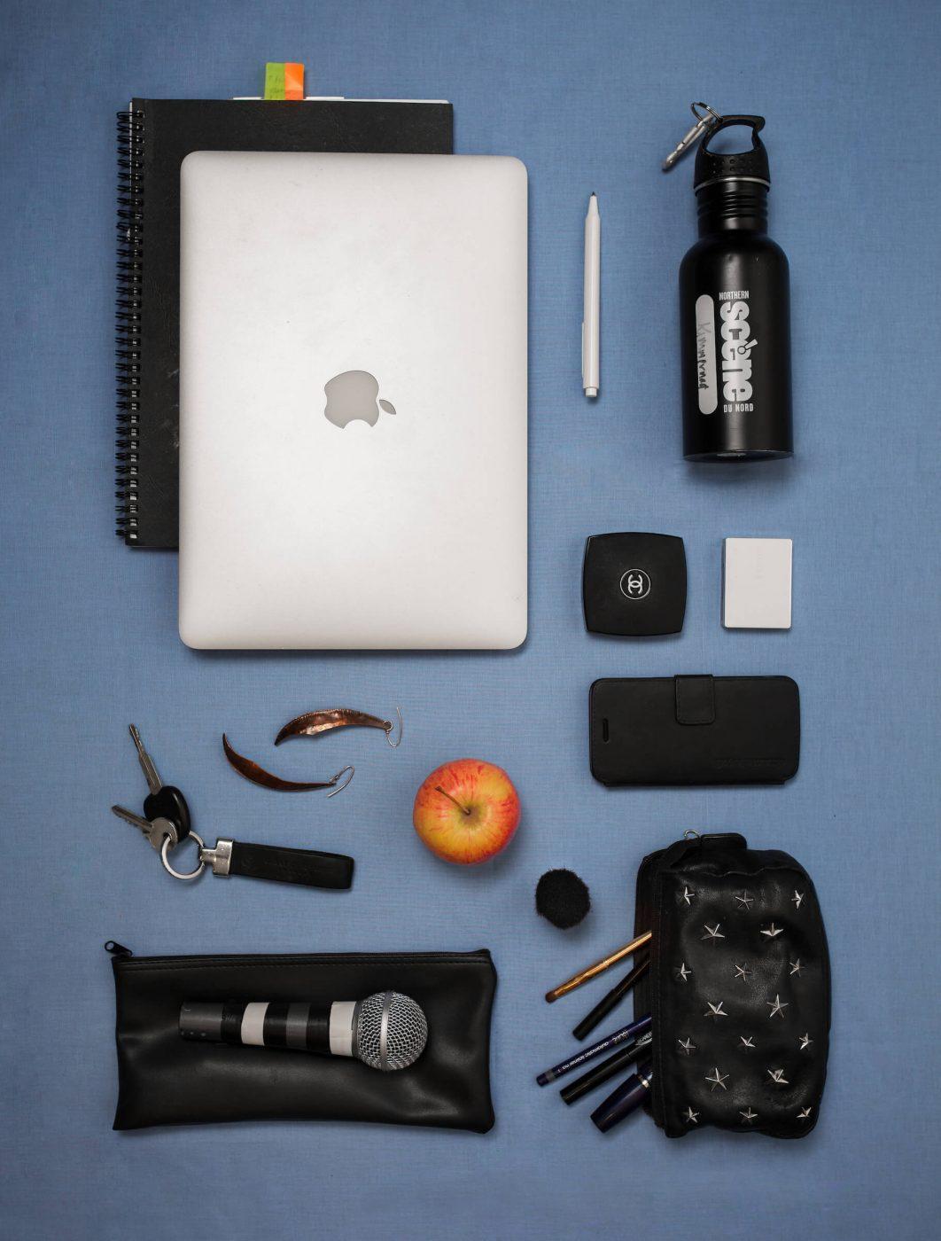 The everyday items of greenlandic actor and singer Kimmernaq Kjeldsen. Photo by Rebecca Gustafsson