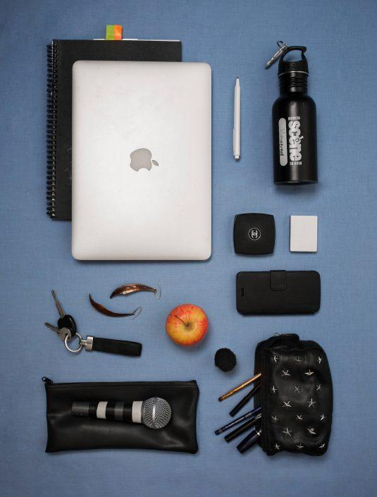 The everyday items of greenlandic actor and singer Kimmernaq Kjeldsen. Photo by Rebecca Gustafsson