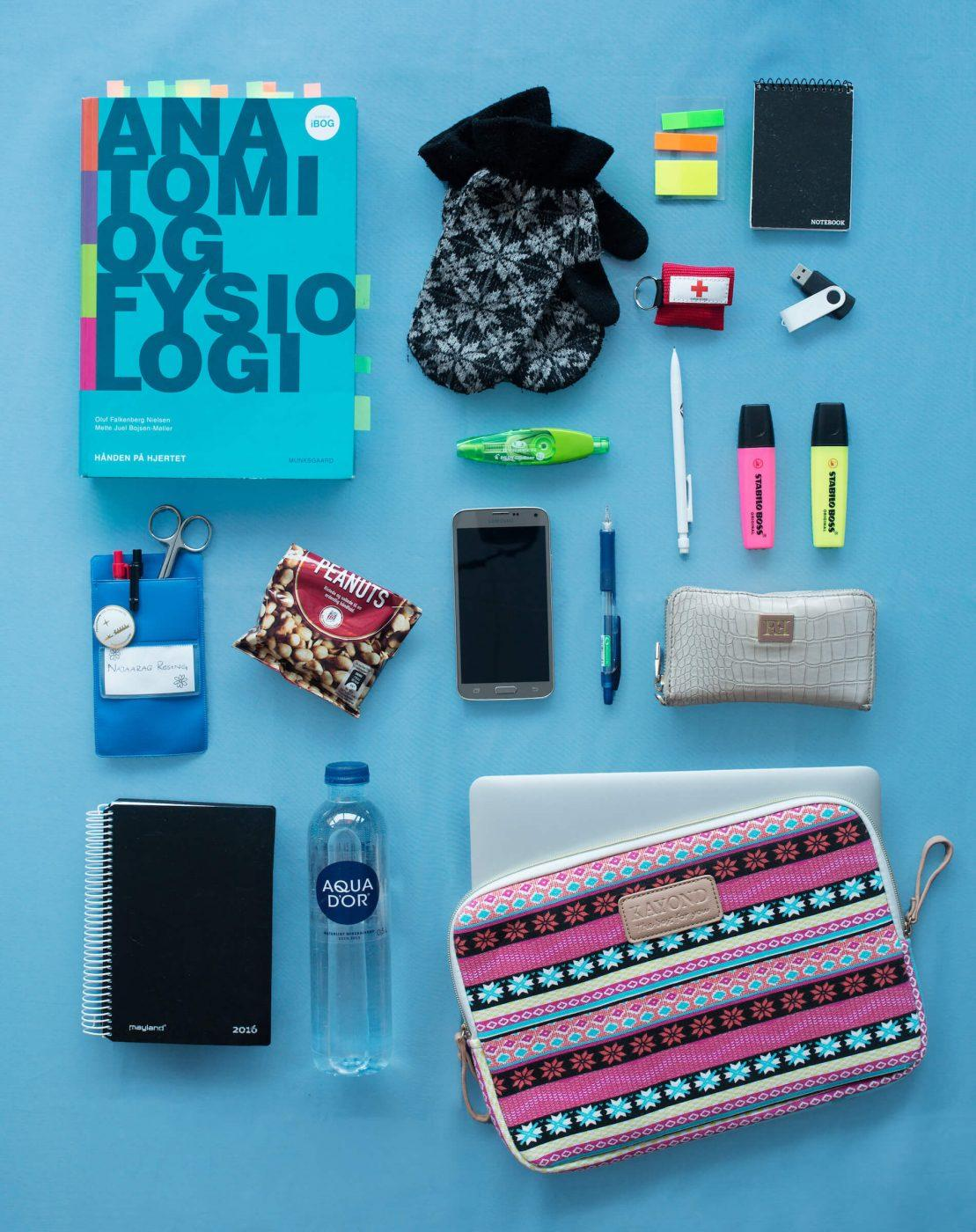 The everyday items of Najaaraq Rosing, nurse student at. Photo by Rebecca Gustafsson