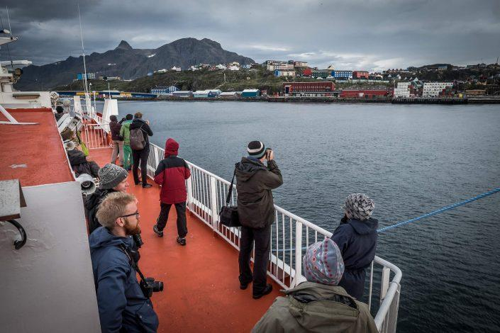 The passenger ferry Sarfaq Ittuk arriving in Sisimiut in Greenland