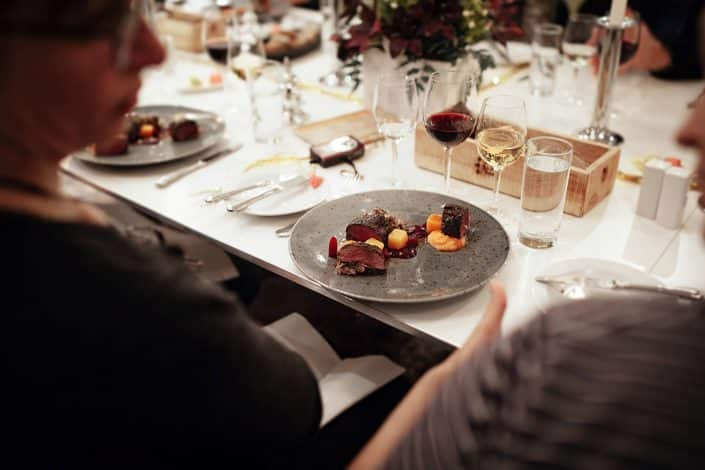 The reindeer maincourse from Hotel Hans Egede at a christmas dinner for locas and tourists in Nuuk in Greenland. By Rebecca Gustafsson