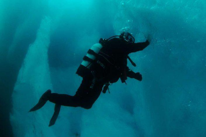 Diver exploring East Greenland from underwater. Photo by Arctic Dream, Visit GreenlandArctic Dream Travellodge Greenland 11