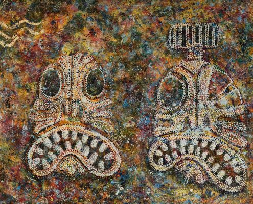 Visual artist Mike Kristiansen's tupilak-decorated paintings, by Mads Pihl