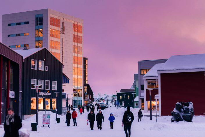 The main shopping street of Nuuk, Greenland on a beautiful winter sunset afternoon. Photo by Rebecca Gustafsson