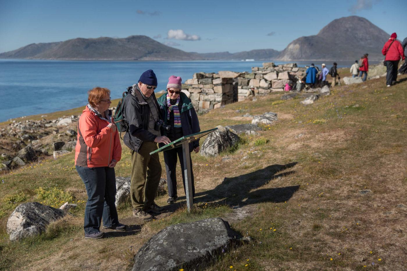 Guests at Hvalsey church ruin in South Greenland