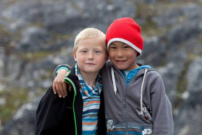 Two boys from Paamiut in Greenland in the street. By Angu Motzfeldt
