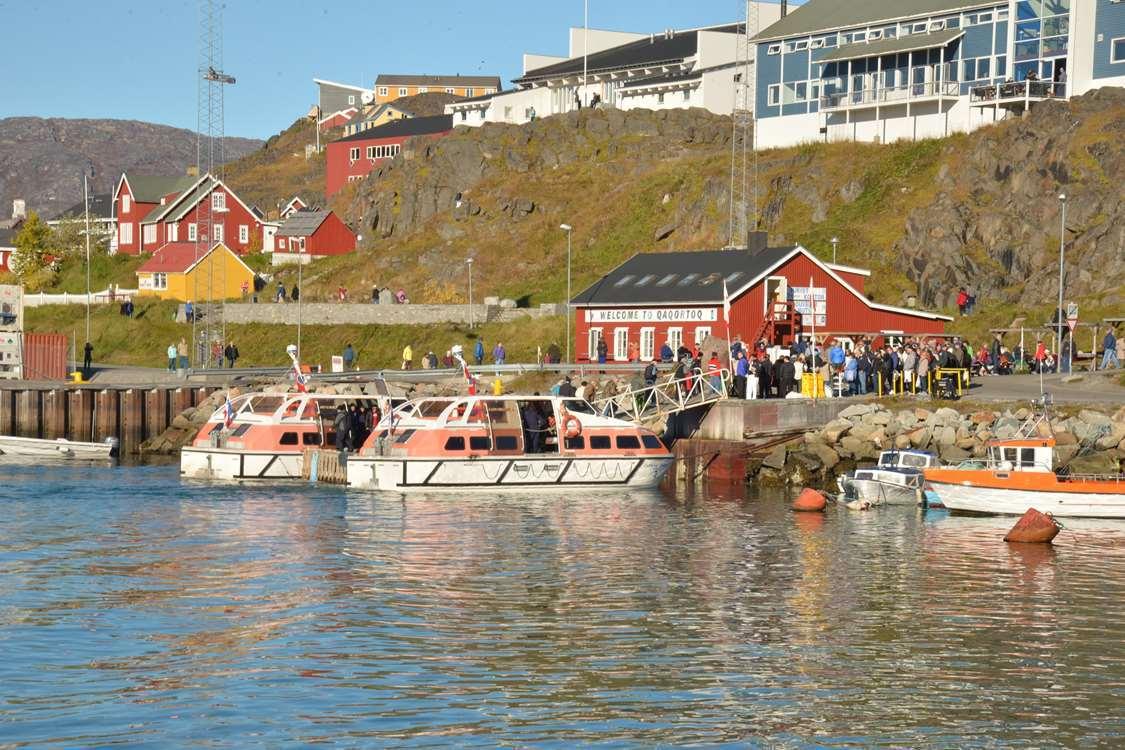 Boats docking in Qaqortoq in South Greenland. Photo by Greenland Sagalands