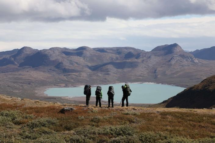 Hikers in Aasivissuit UNESCO area close to Kangerlussuaq Photo by Morten Christensen - Visit Greenland
