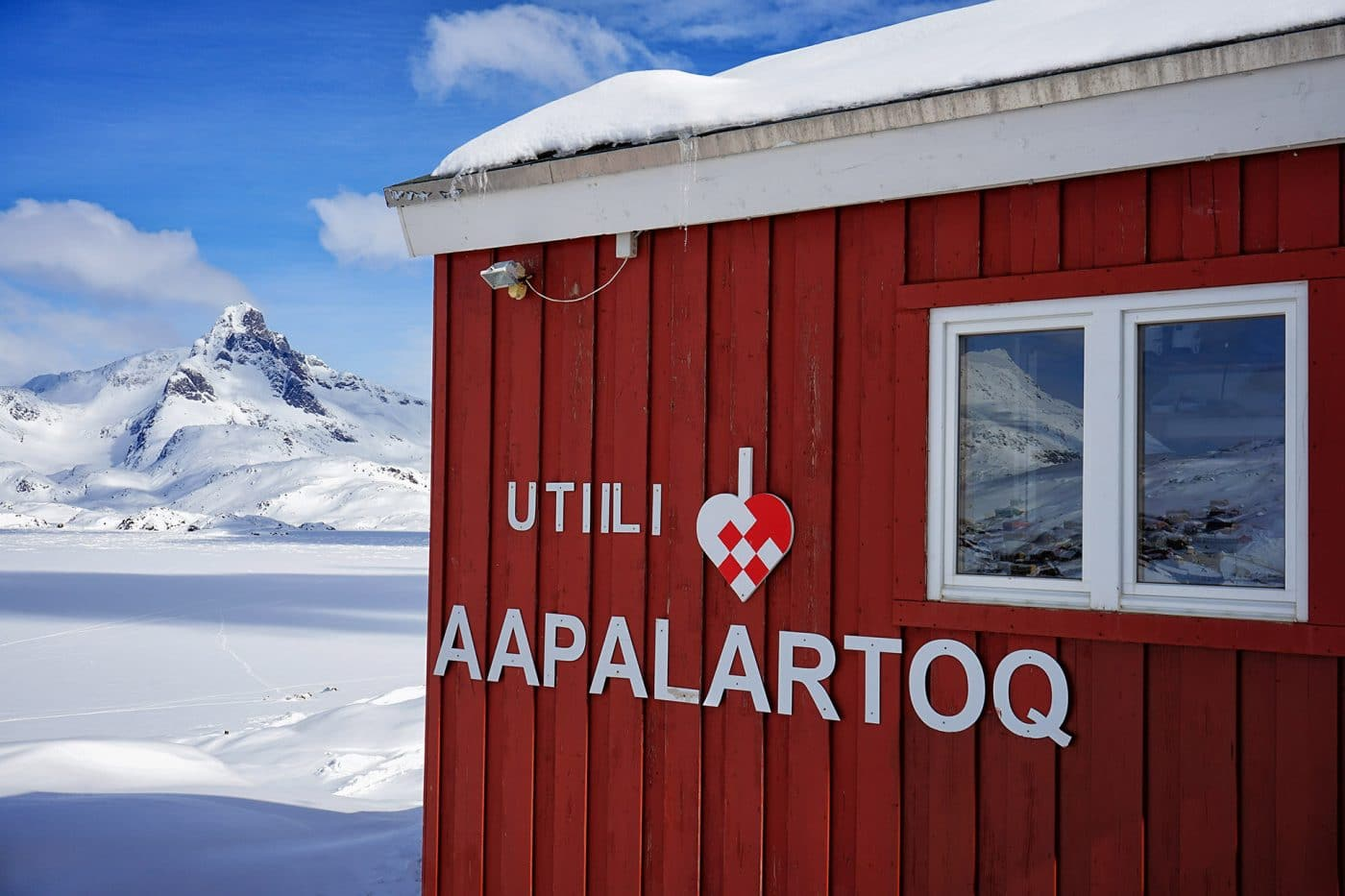 Sign outside The Red House, East Greenland. Photo by Ulrike Fischer