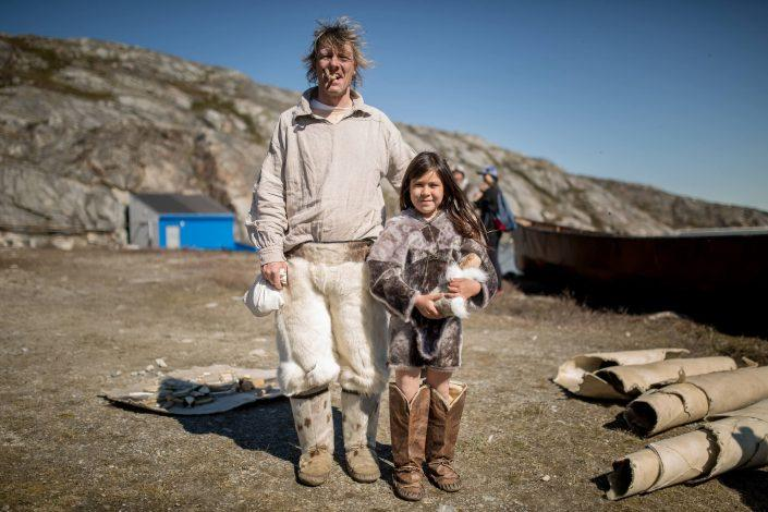A dutch whaler and a Greenlandic girl at the living village museum in Qasigiannguit in Greenland. Photo by Mads Pihl.