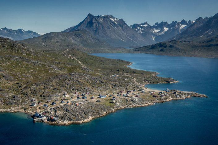 An aerial view of the small settlement Tasiusaq near Nanortalik in South Greenland. Photo by Mads Pihl.