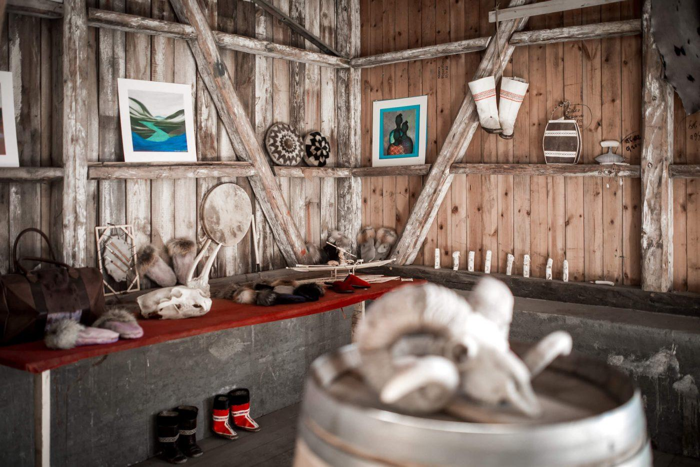 Inside the Hotel Narsaq art an crafts shop at the old harbour in Narsaq in South Greenland. Photo by Mads Pihl.