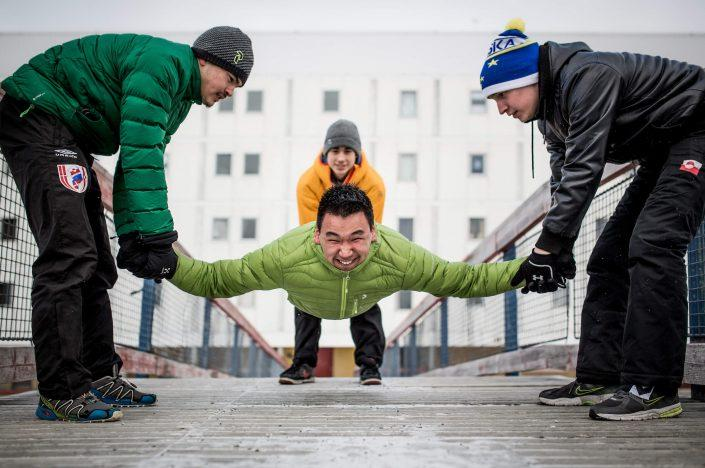 Inuit games athletes preparing for Arctic Winter Games 2016 in Nuuk, Greenland. By Mads Pihl