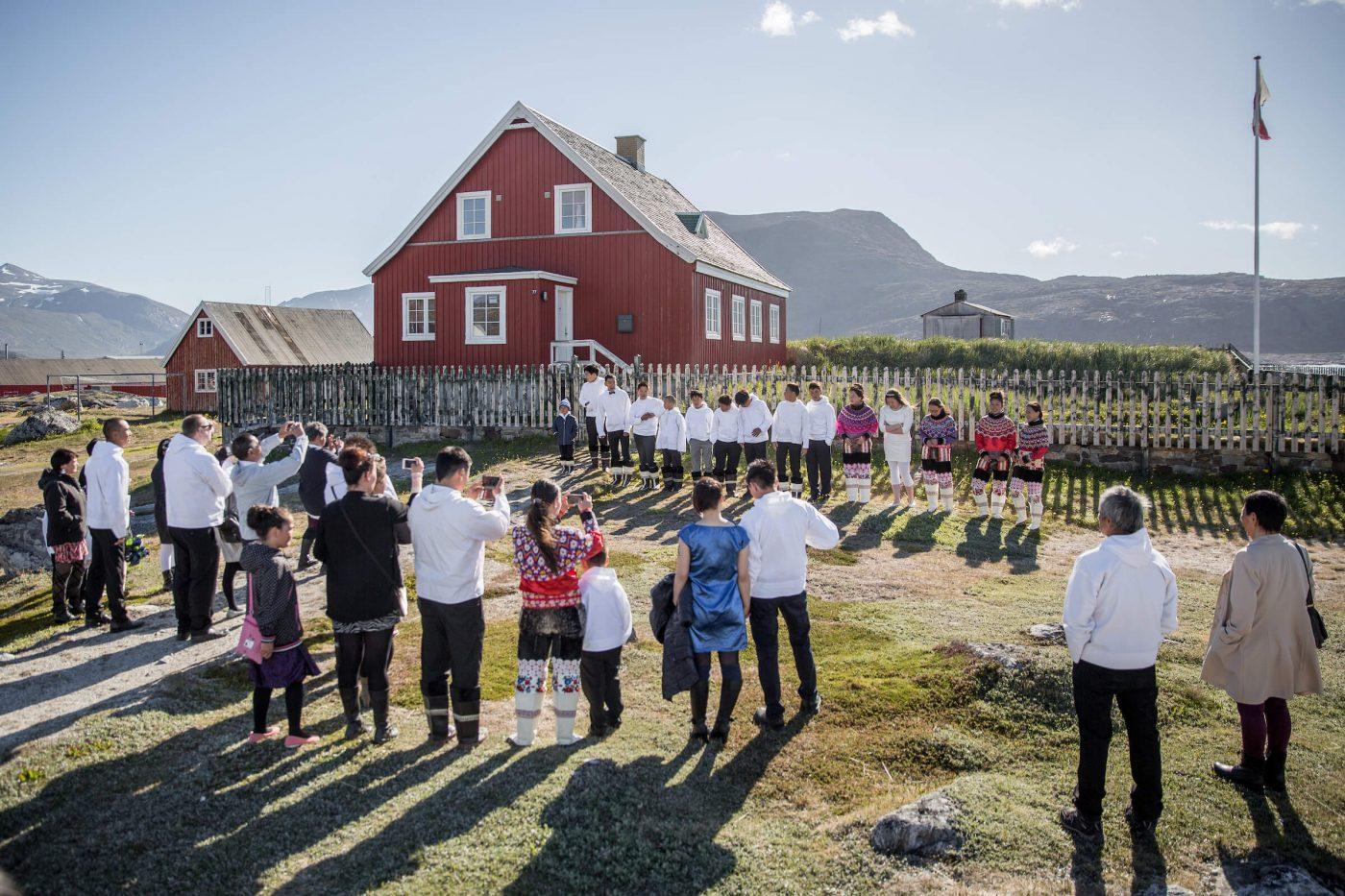 Kids from Nanortalik in South Greenland lining up for their day of Conformation at the church. Photo by Mads Pihl.