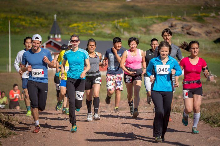 Participants at the Leif den Lykkeliges Marathon in Qassiarsuk in South Greenland. By Mads Pihl