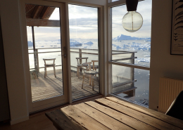 Red view from livingroom. Photo by Ilulissat Guesthouse
