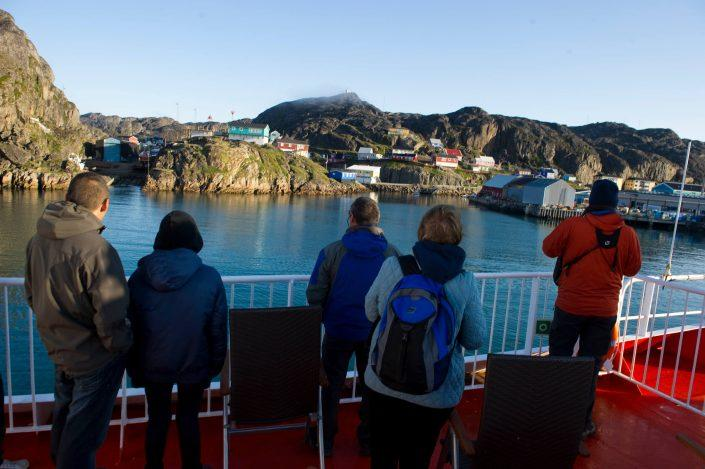 Sarfaq Ittuk docking to Maniitsoq in summer morning in Greenland. By Arctic Umiaq Line A/S