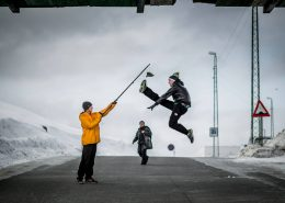 Tonny Fisker practicing his one foot high kick before the Arctic Winter Games in Nuuk, Greenland. By Mads Pihl