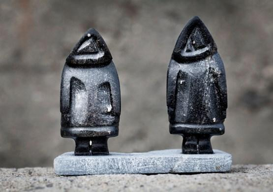 Two Eskimo looking Soapstone Art. By Mads Pihl