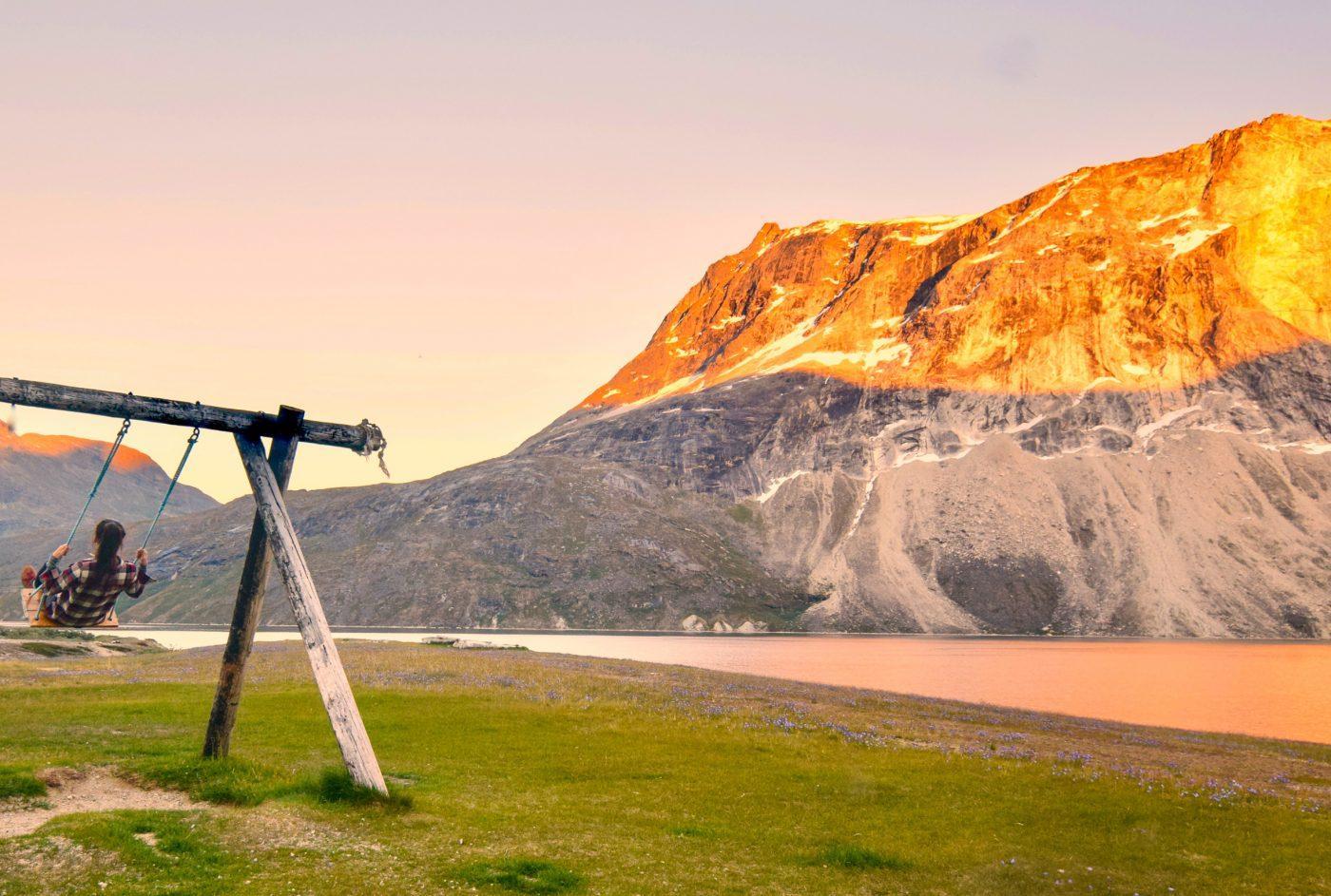 Greenland sunset swing. Photo by Lauren Breedlove