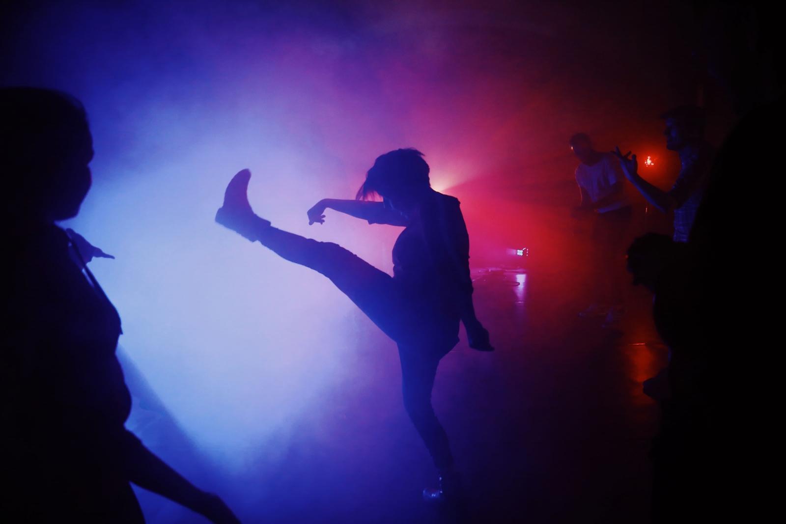Kimmernaq Kjeldsen dances at the Disko Arts afterparty in Ilulissat after the final performance. Photo by Jessie Brinkman Evans