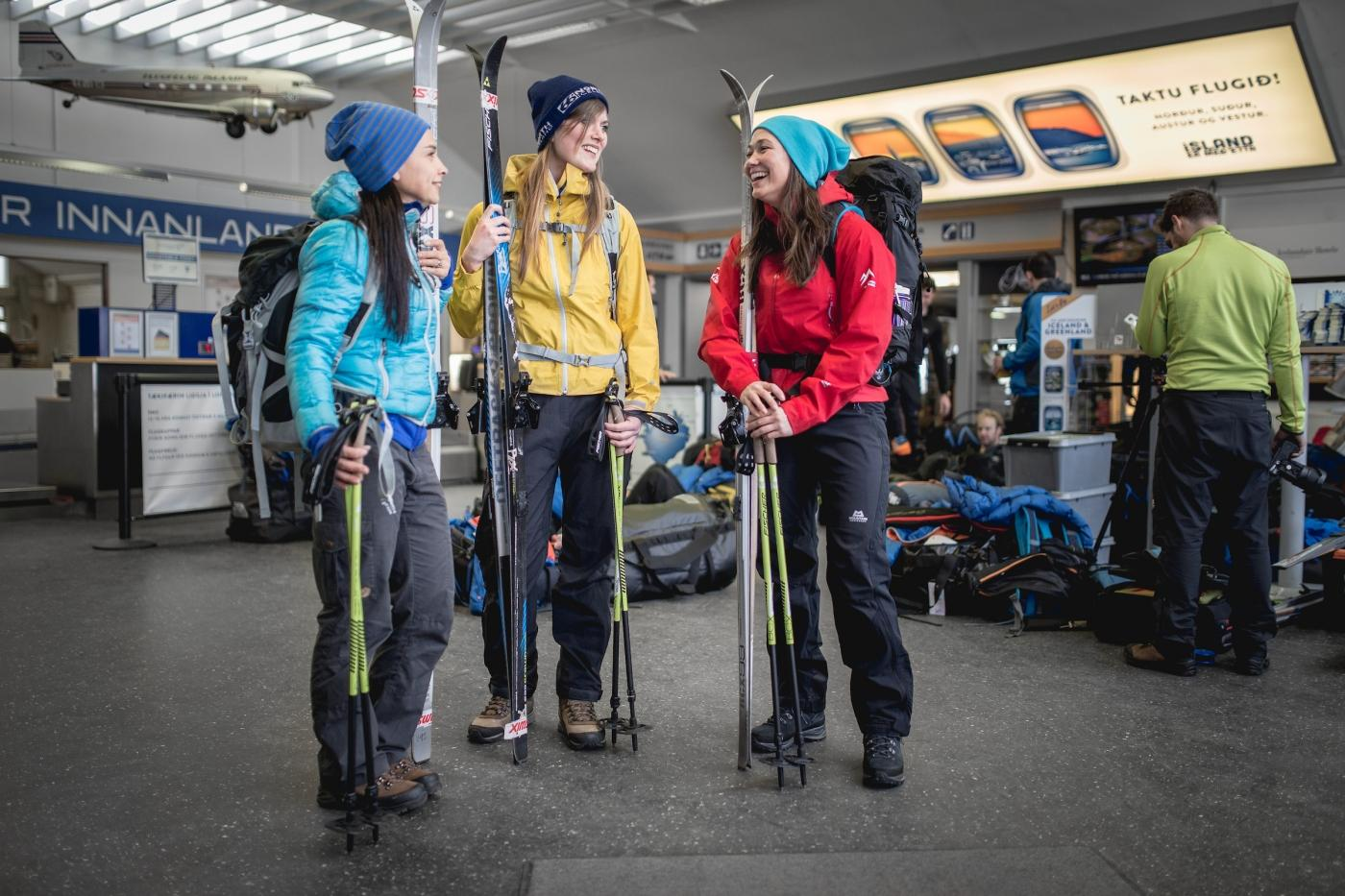 Skiers getting ready to go ski touring in East Greenland. Photo by Mads Pihl. Visit Greenland