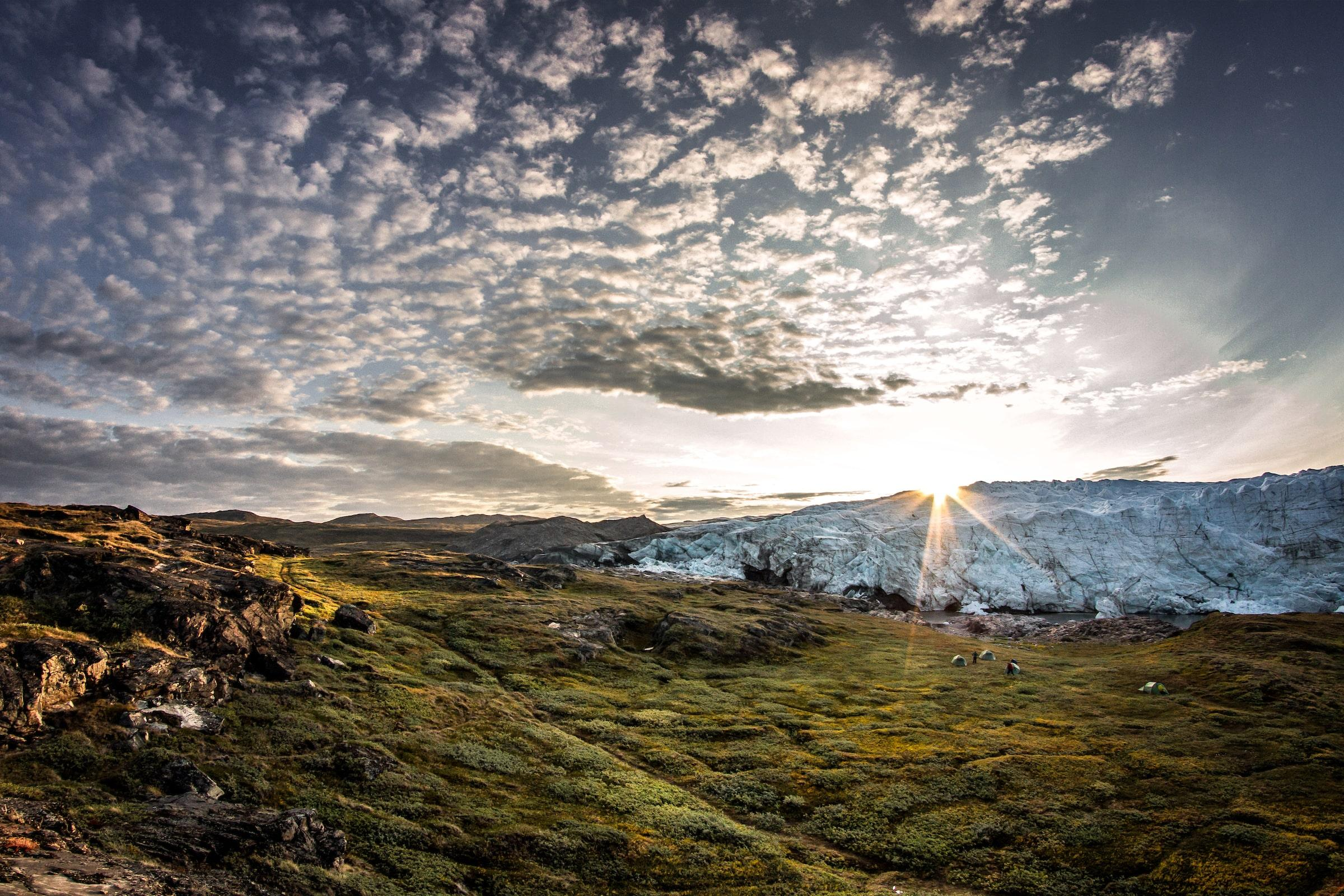 Sunrise over a tent camp by the Russell Glacier near Kangerlussuaq in Greenland