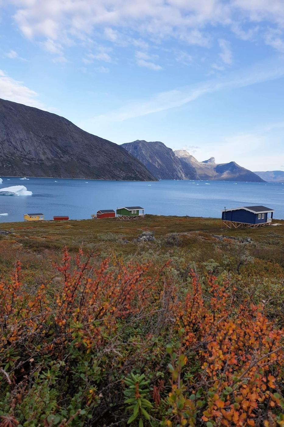 View over the fjord and colourful houses in Camp Itivi. Photo by Camp itivi