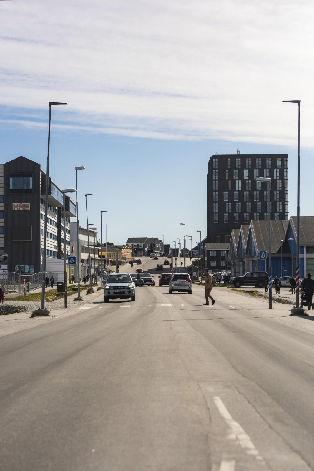 After-Traffic on the main road in Nuuk
