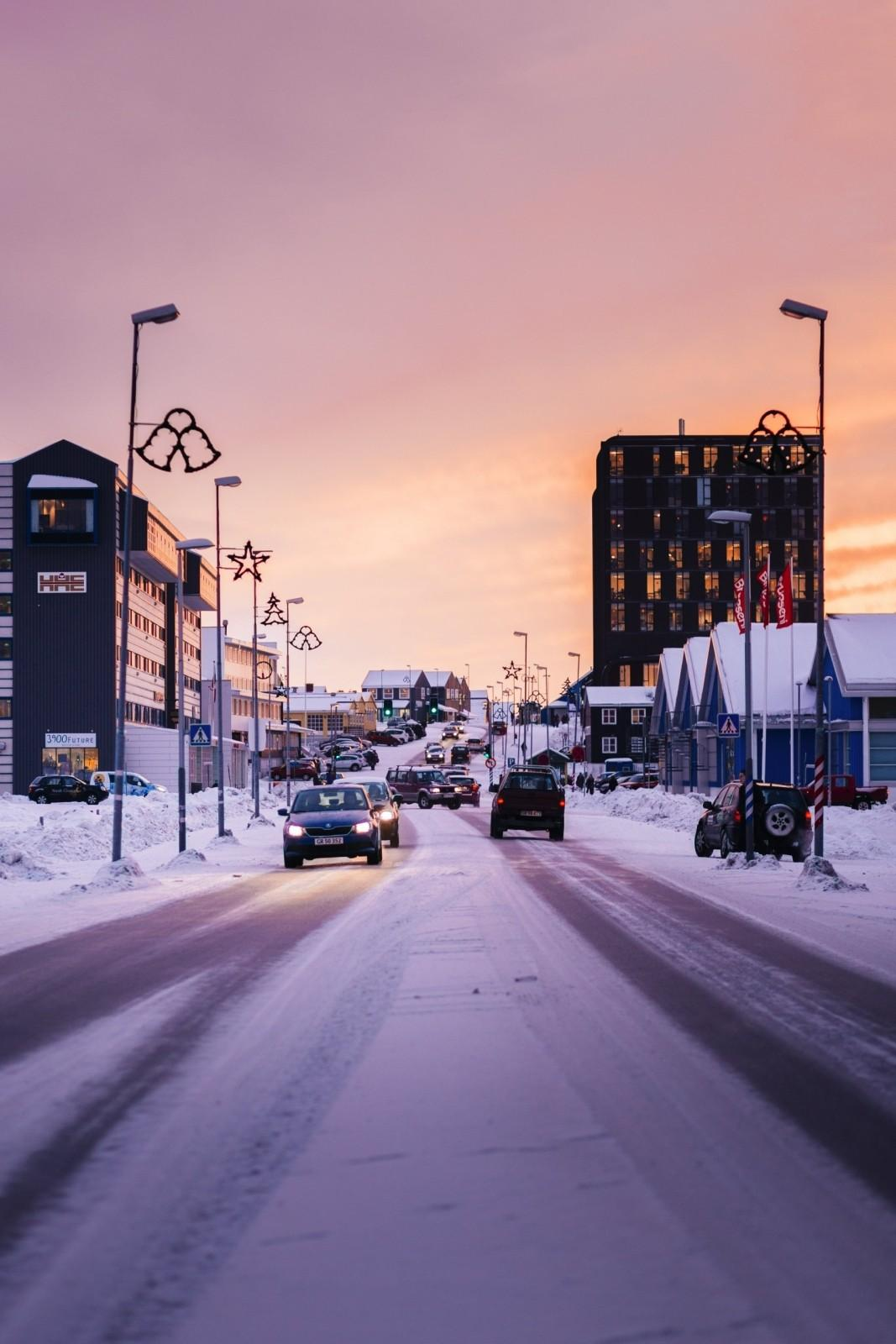 Before-Traffic on the main road in Nuuk