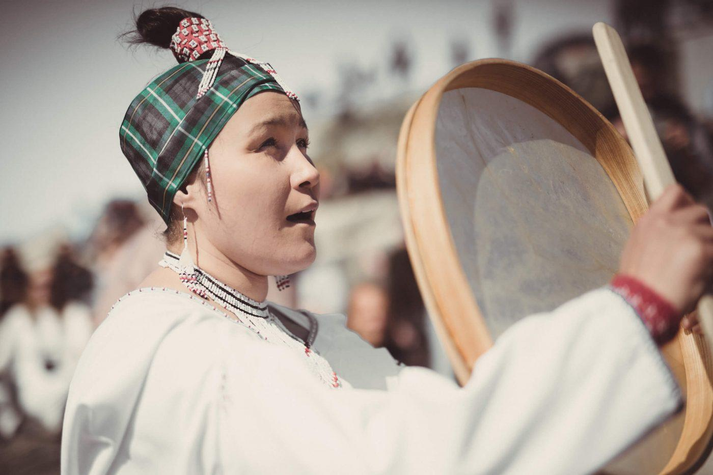 A drum dancer performing in Nuuk on the National Day, June 21 in Greenland