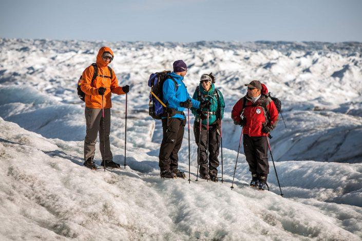A group glacier walking on the Greenland Ice Sheet near Kangerlussuaq. Photo by Mads Pihl