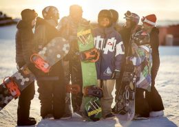 A group of friends from Nuuk hanging out at the snowboard park before the Arctic Winter Games in Greenland. Photo by Mads Pihl