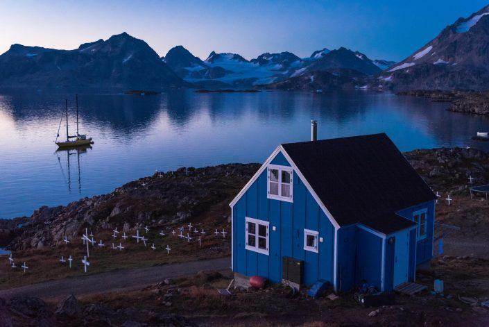 A home and graveyard on Kulusuk, Northwest Side Of Kulusuk island. By Chris Brinlee Jr