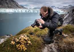 A photographer shooting flowers and plants by the Knud Rasmussen Glacier in East Greenland. By Mads Pihl