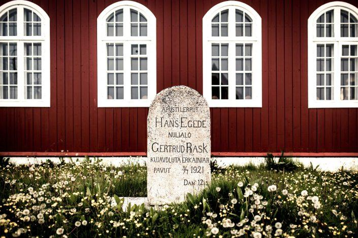 A stone in front of the old church in Qaqortoq in South Greenland commemorating Hans Egede and Gertrud Rask. By Mads Pihl