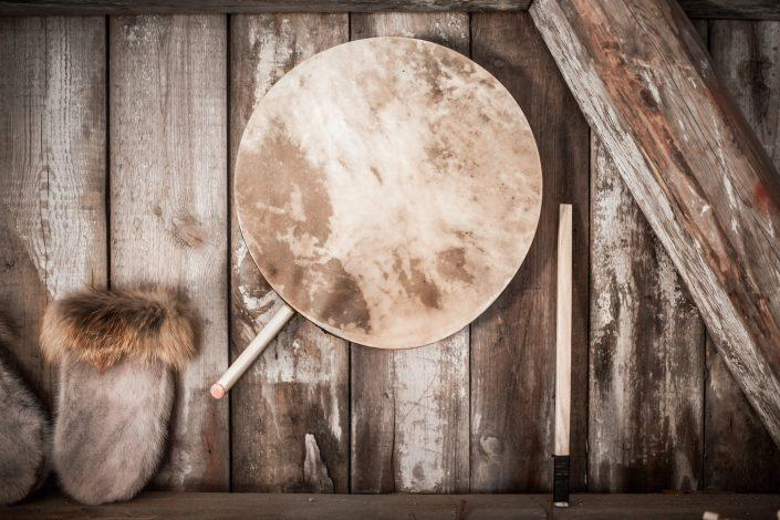 A traditional Greenlandic drum for drum dancing on display in Narsaq in South Greenland. By Mads Pihl