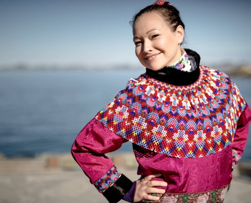 A women from Nuuk in Greenland wearing her national costume for the National Day celebrations on June 21, by Mads Pihl
