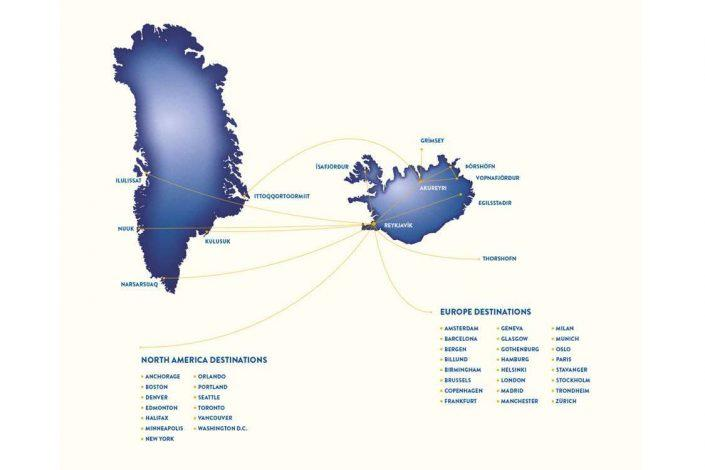 Connection Map of Air Iceland Connect flights. Photo by Air Iceland Connect