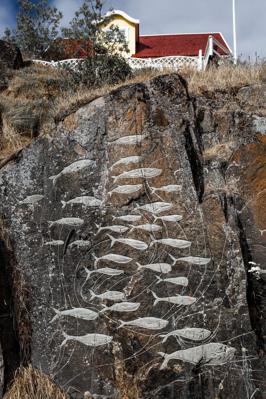 An element of the Stone and Man stone carvings in the centre of Qaqortoq in South Greenland. Photo by Mads Pihl