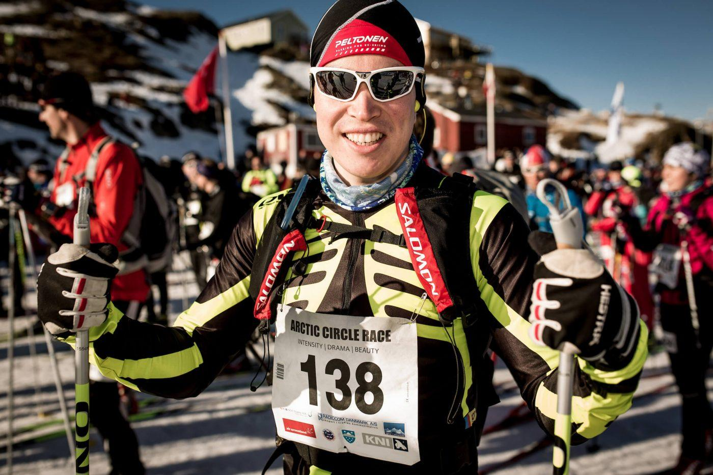 Arctic Circle Race skier preparing for the race on day 1. Photo by Mas Pihl, Visit Greenland