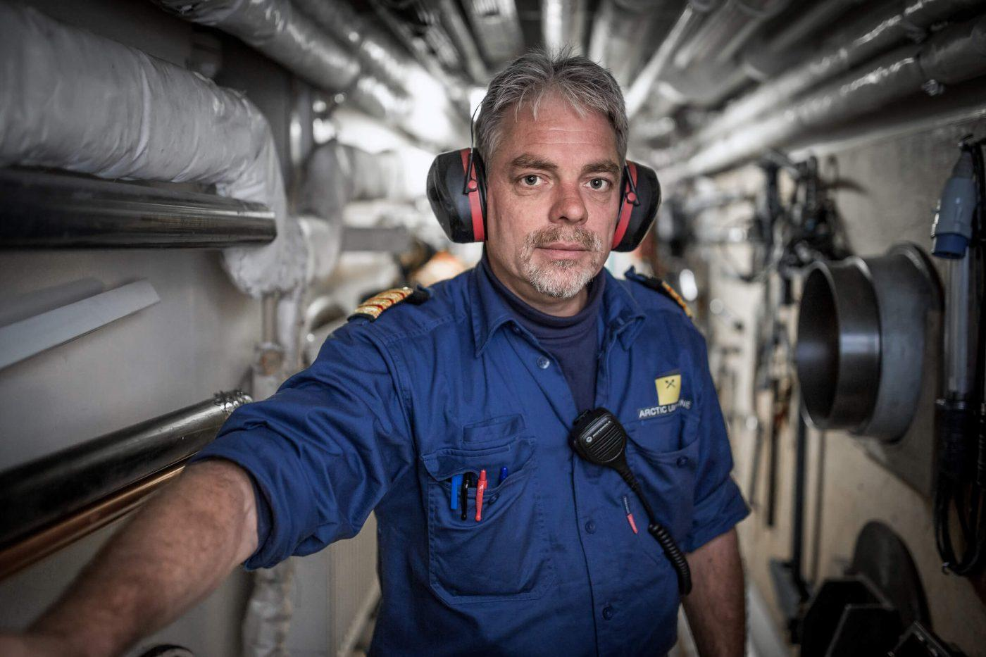 An officer from the Sarfaq Ittuk ferry in the engine room of the shipGuests in one of the cabins in Sarfaq Ittuk. Visit Greenland